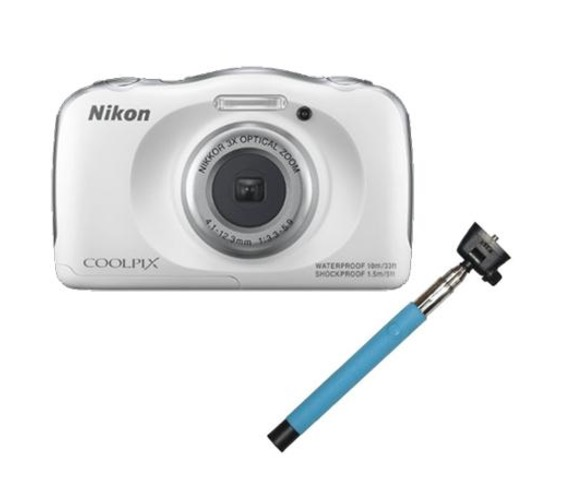 nikon coolpix s33 waterproof digital camera 13mp selfie stick white new ebay. Black Bedroom Furniture Sets. Home Design Ideas