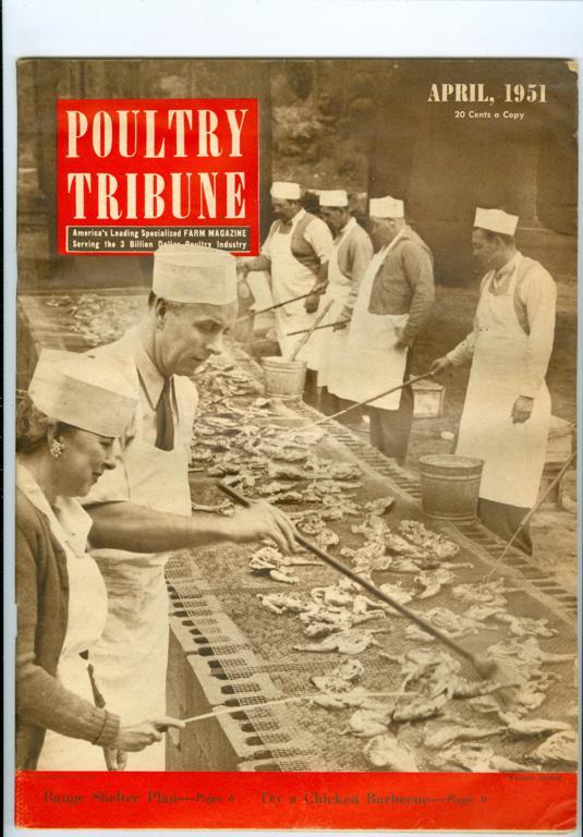 1951 Poultry Tribune Farm Magazine Chicken Barbecue Range Shelter Plan