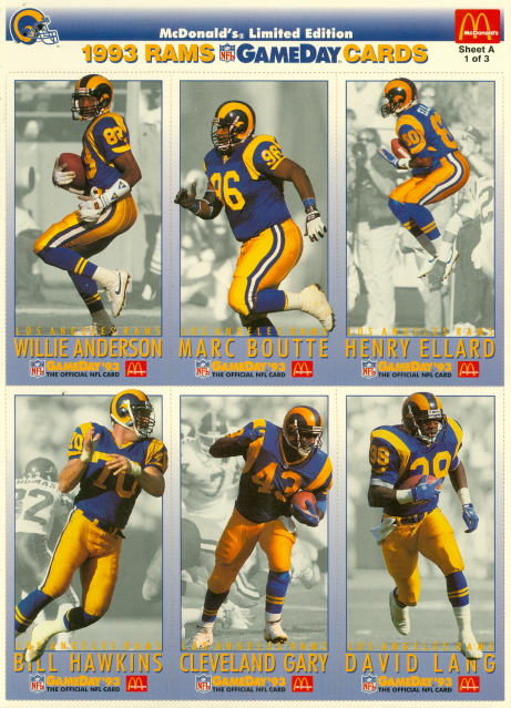 1993 Los Angeles Rams McDonalds Gameday Set 18 Cards Jerome Bettis