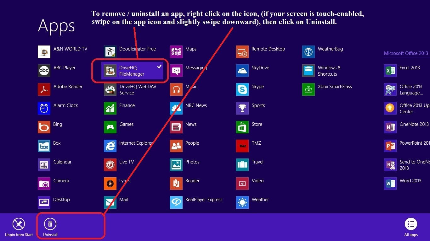 Uninstall DHQ FileManager for Windows 8 Store from All Apps