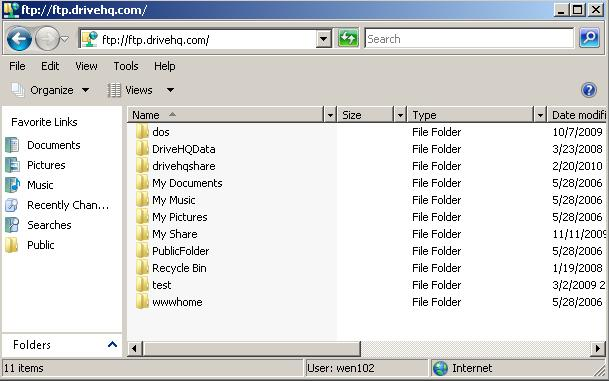 Finished connecting DriveHQ FTP from Windows Explorer