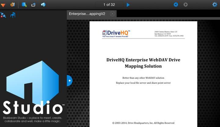 Use DriveHQ WebDAV Service On iPad with Bluebeam Revu