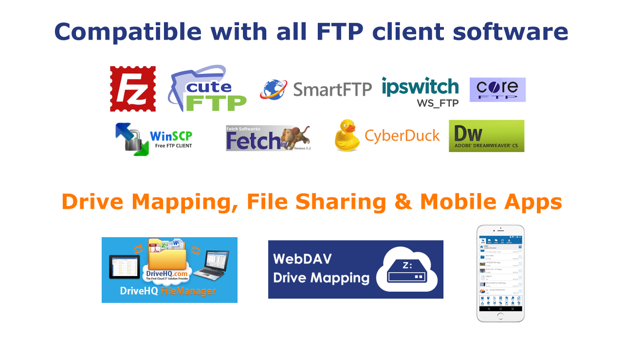 DriveHQ Cloud FTP / SFTP Server is compatible with all FTP Client software