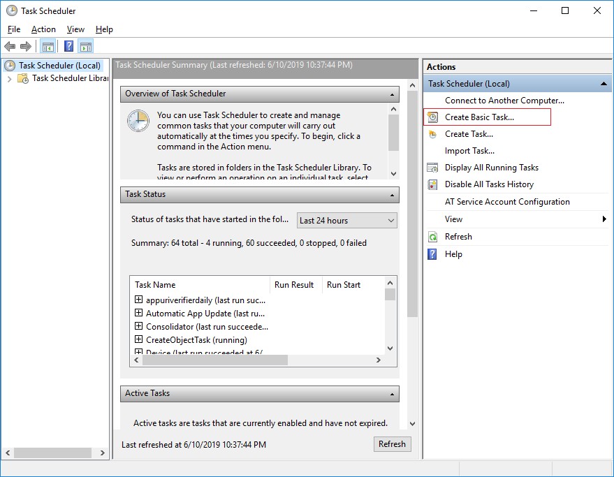 Click create basic task in Windows Task Scheduler