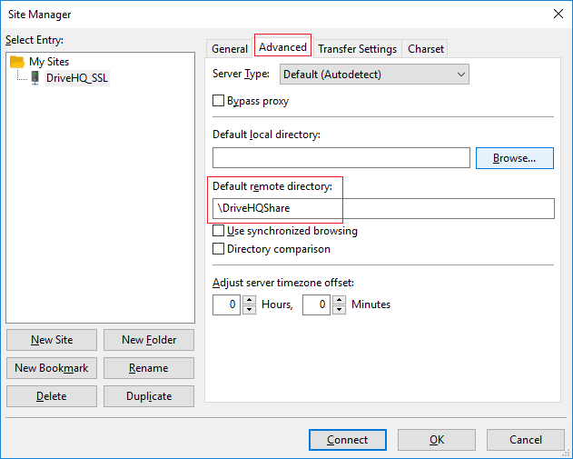 Configure FileZilla to connect to DriveHQ FTP Server using FTP/FTPS/SFTP