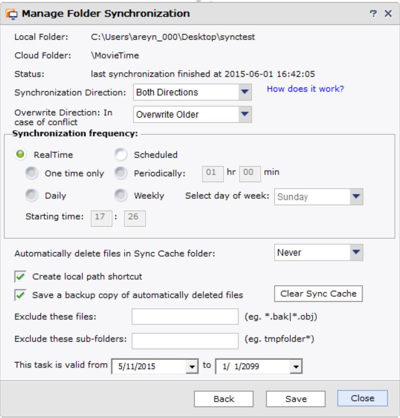 DriveHQ multi-folder synchronization, scheduled sync & one