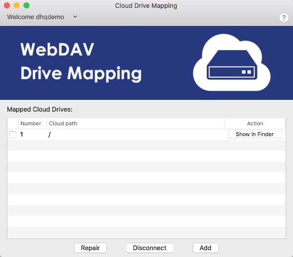 DriveHQ Cloud Drive Mapping Tool for Mac screenshot
