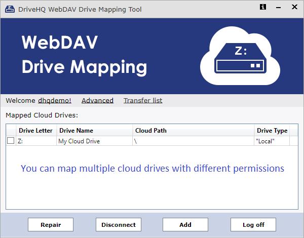Download DriveHQ WebDAV Cloud Drive Mapping Tool on