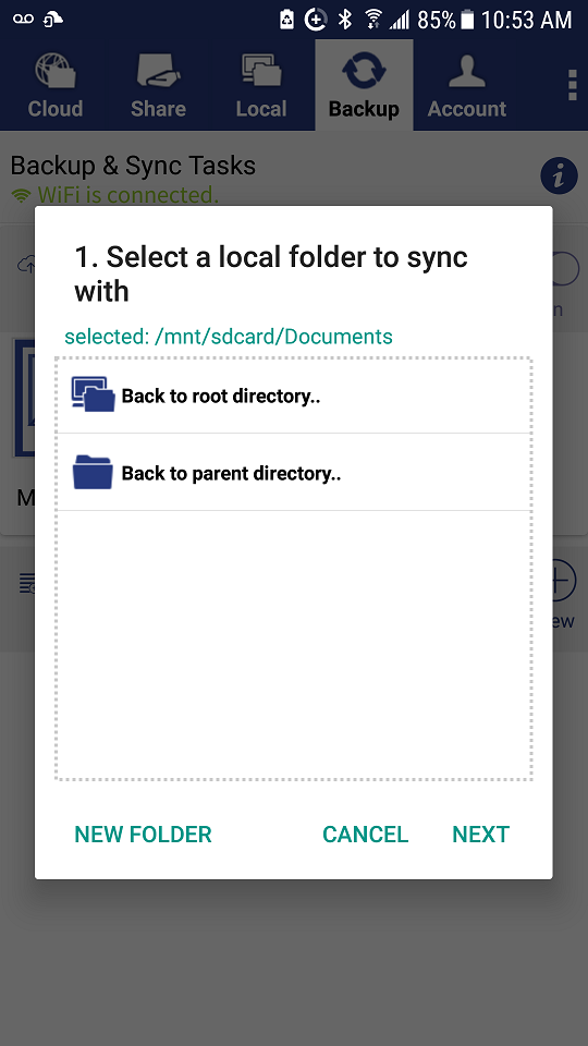 DriveHQ FileManager for Android screenshot - select a local folder to sync
