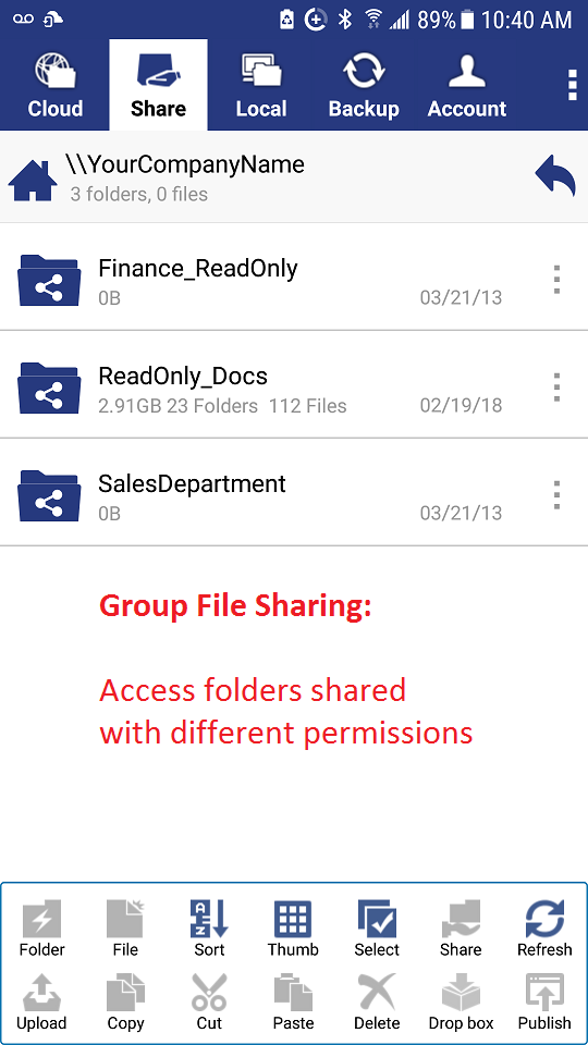 DriveHQ FileManager for Android - folders shared to me with access control
