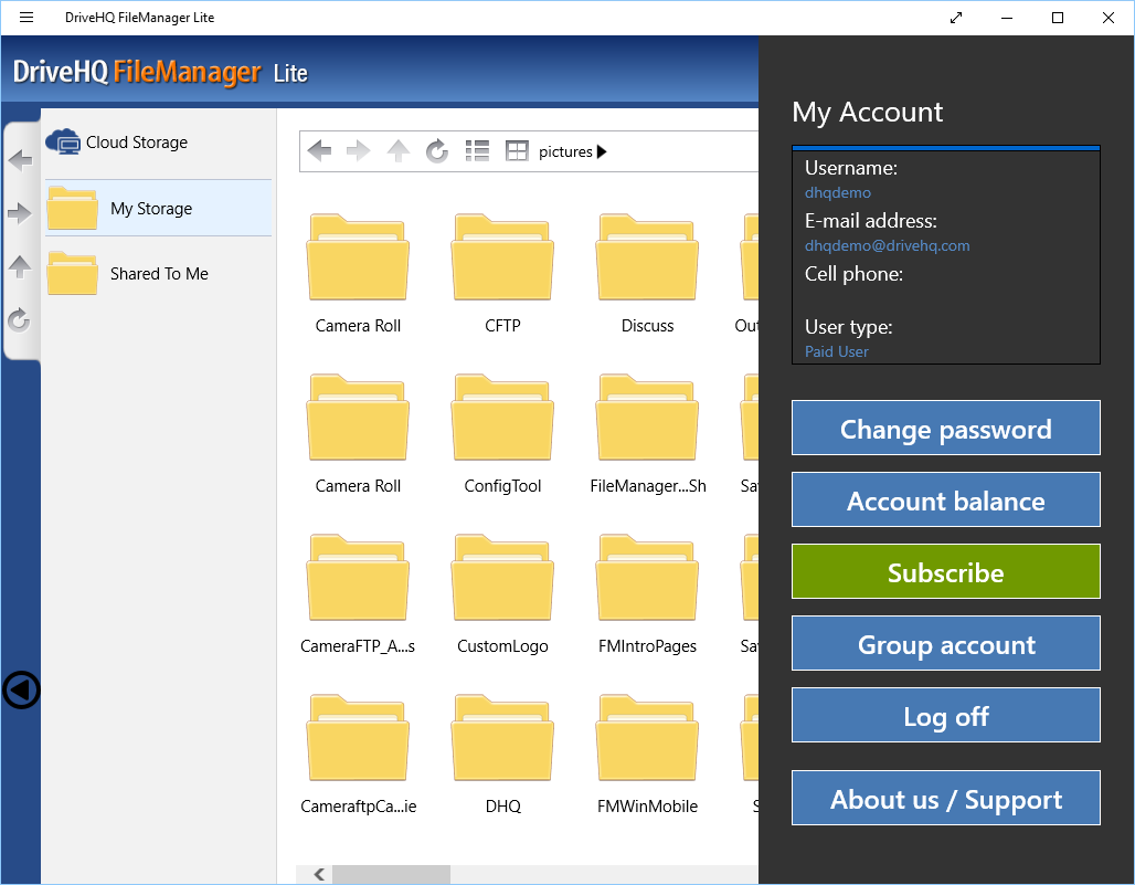 DriveHQ FileManager Lite for Windows tablets - Account profile and subscription info