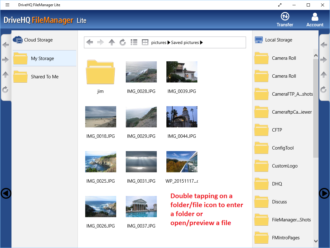 DriveHQ FileManager Lite for Windows tablets - About screen