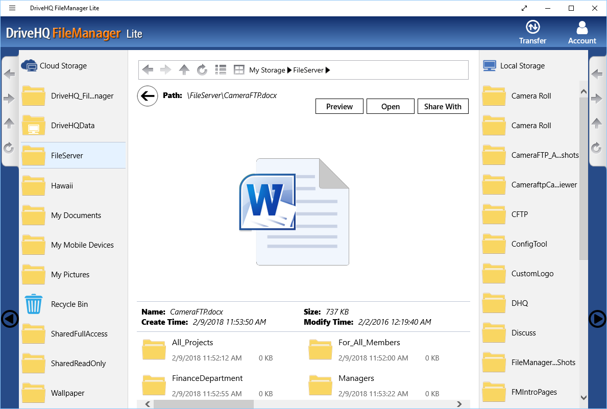 DriveHQ FileManager Lite for Windows tablets - Open, view cloud files
