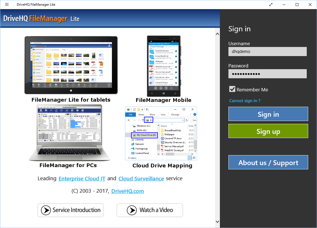 DriveHQ FileManager Lite for Tablets Online Help