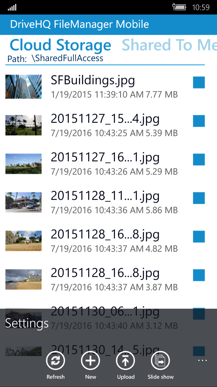 DriveHQ FileManager for Windows Mobile Phone screenshot: Upload files, new files/folders, photo slide show, settings.