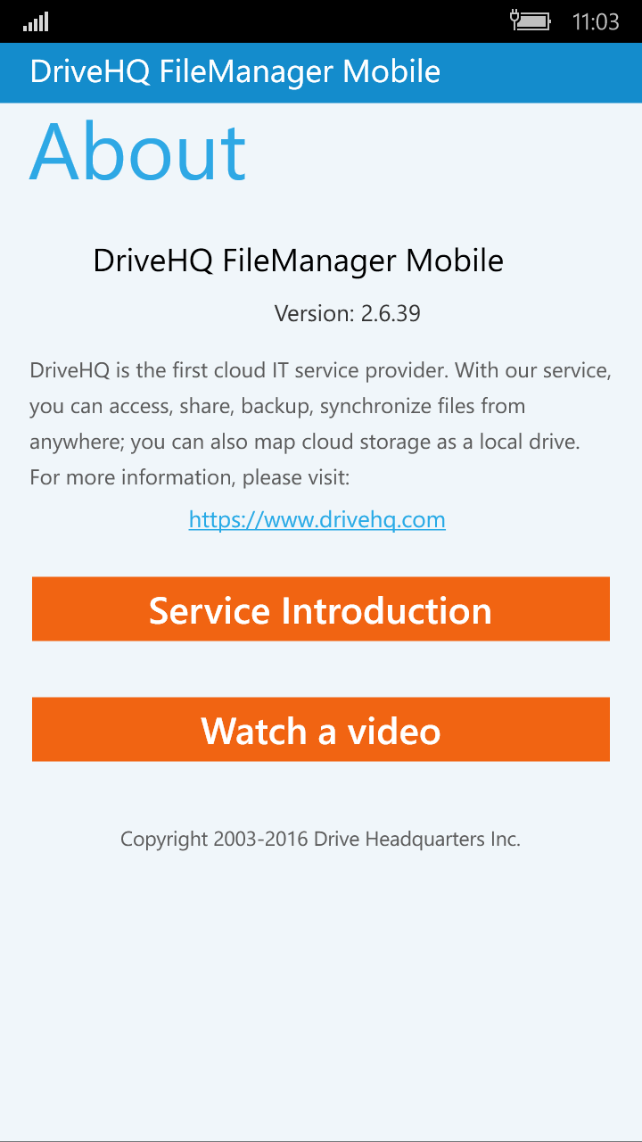 DriveHQ FileManager for Windows Mobile Phone screenshot: About DriveHQ service, app version, service introduction video