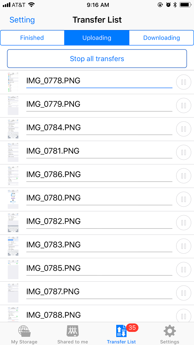 DriveHQ FileManager for iPhone screenshot - accessing folders shared to you with access control