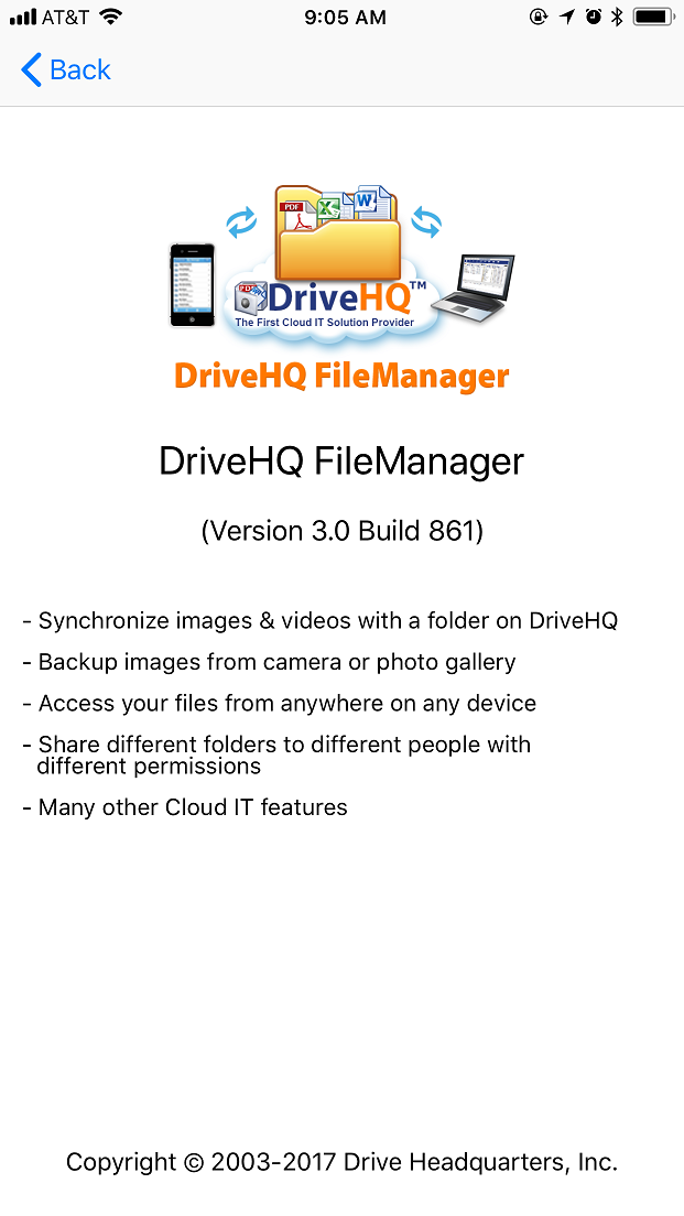 DriveHQ FileManager for iPhone screenshot - Enter the passcode to access the app.
