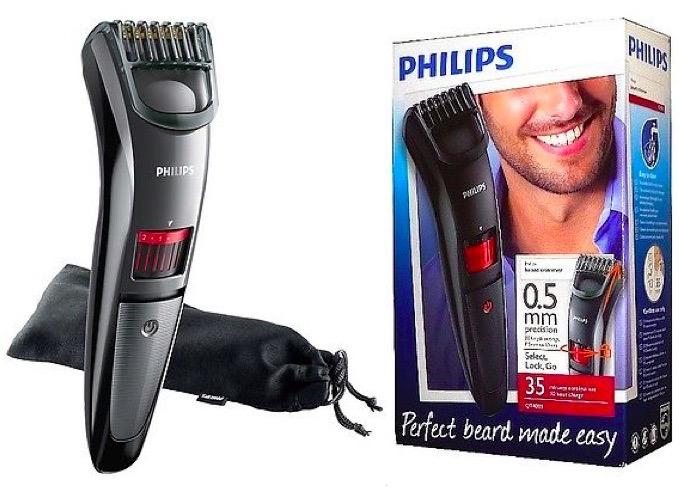 philips qt4015 mens cordless beard trimmer w titanium blades pouch new ebay. Black Bedroom Furniture Sets. Home Design Ideas