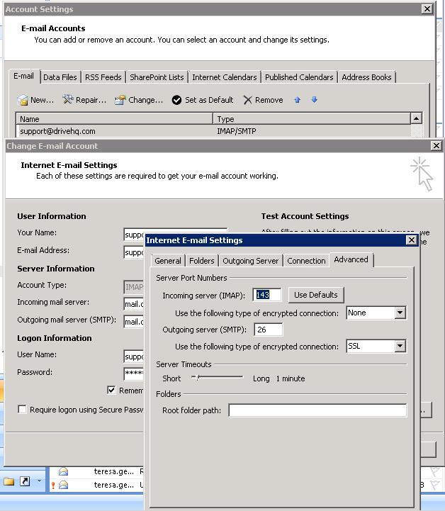Configure SMTP over SSL using Microsoft Outlook